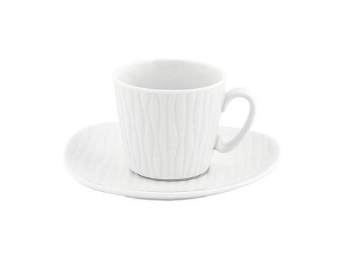 Set 6 tazze caffè con piattino in porcellana a rilievo Ivory Villa Altachiara YLANG