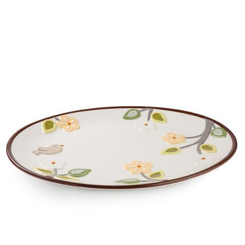 Vassoio ovale in ceramica smaltata decorata Egan L' ALBERO DELLA VITA