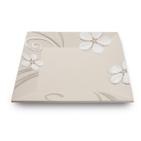 Centrotavola piatto quadrato in ceramica decorata Egan FLOWER MARGHERITA