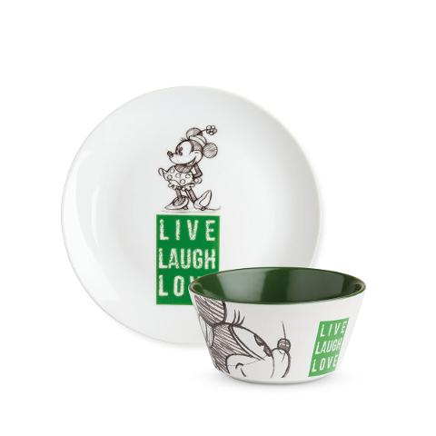 Set piatto dolce e tazza bowl in porcellana decorata Egan LIVE LAUGH LOVE