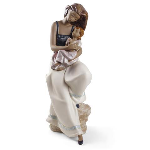 Scultura in porcellana spagnola  Nao by Lladro MAMMA CON BAMBINA