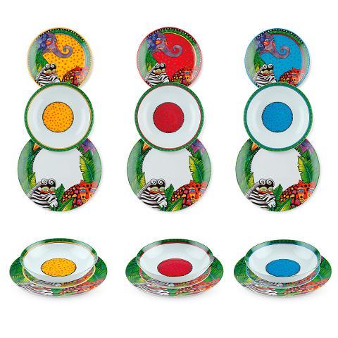 Servizio 18pz piatti in porcellana decorata  Egan LAUREL BURCH JUNGLE SONG