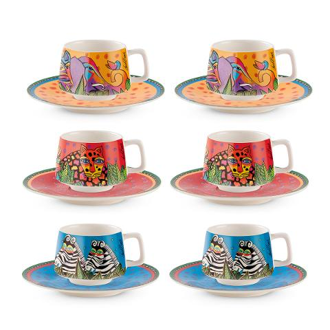 Set 6 tazze caffè con piattino in porcellana decorata  Egan LAUREL BURCH JUNGLE SONG