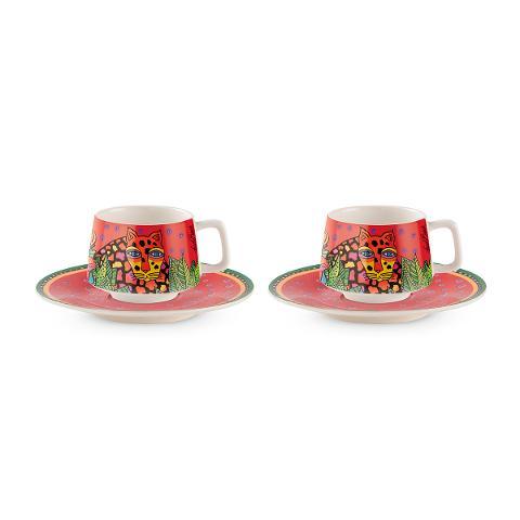 Set 2 tazze caffè con piattino in porcellana decorata Egan LAUREL BURCH JUNGLE SONG