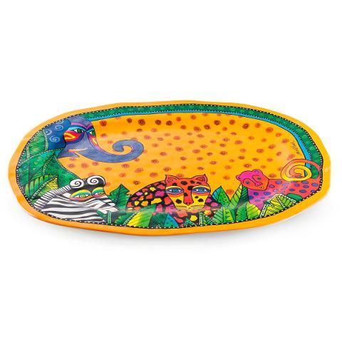 Vassoio ovale in melanina decorata Egan LAUREL BURCH JUNGLE SONG