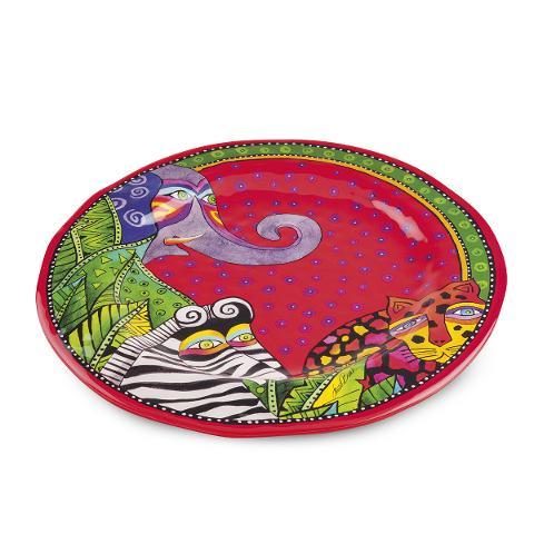 Piatto rotondo da portata in melamina decorata Egan LAUREL BURCH JUNGLE SONG