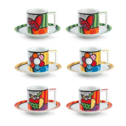 Set 6 tazze caffè con piattino in porcellana decorata  Egan BRITTO ICON