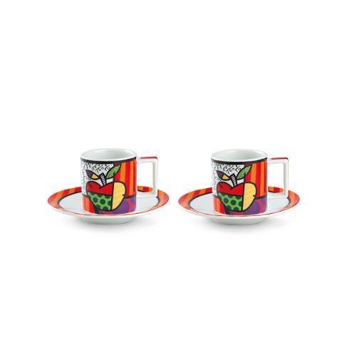 Set 2 tazze caffè con piattino in porcellana decorata Egan BRITTO ICON