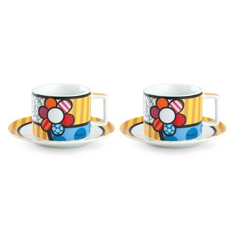 Set 2 tazze cappuccino con piattino in porcellana decorata Egan BRITTO ICON