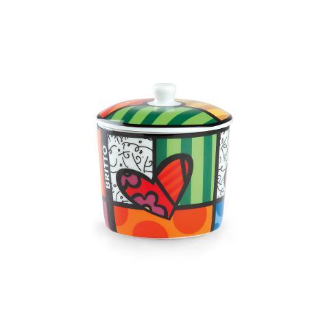 Zuccheriera con coperchio in porcellana decorata Egan BRITTO ICON