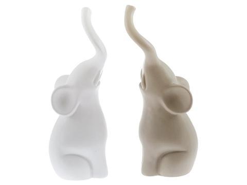 Coppia elefantini in ceramica satinata  Villa Altachiara ZOO