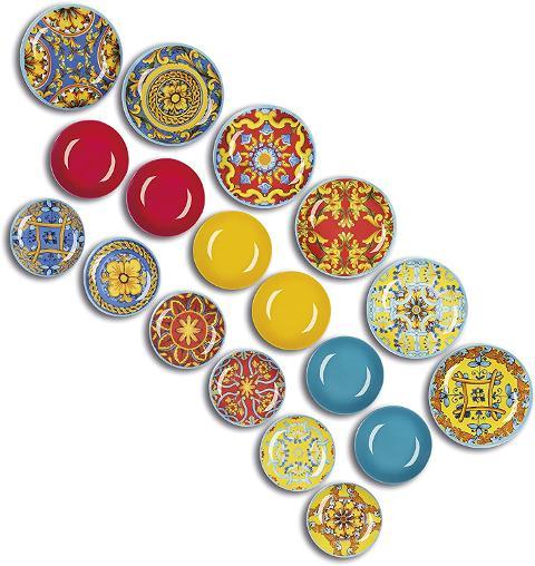Servizio 18pz piatti in porcellana decorata  Excelsa TRINACRIA