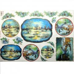 Carta riso paesaggio invernale stamperia 33x48