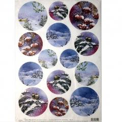 Carta riso dischi con neve calambour 33x48