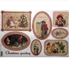 Carta riso christmas greeting stamperia 33x48