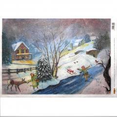 Carta riso paesaggio innevato  arti e grafica 33x48