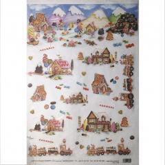Carta riso case di marzapane decomania 33x48