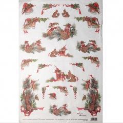 Carta riso elfi e scoiattoli decomania 33x48