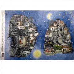 Carta riso paesaggio e  presepe decomania 33x48