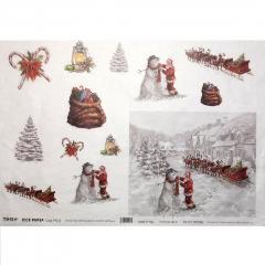 Carta riso paesaggio con babbo Natale to.do 33x48