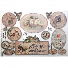 Carta riso home sweet home stamperia 33x48