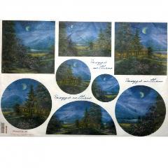 Carta riso paesaggi notturni stamperia 33x48