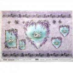 Carta riso cigni cuori e violette to.do 33x48