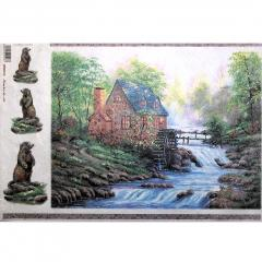 Carta riso cottage su ruscello stamperia 33x48