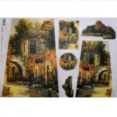Carta riso tegola con rustico arti e grafica 33x33