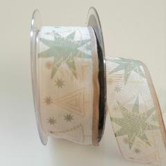 Decoro stelle verdi e alberelli dorati con filo metallico pbs 40mm