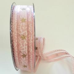 Decoro stelle dorate pbs fondo rosa e bianco 25mm