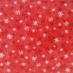 Tessuto cotone rosso con fiocchi neve stafil h120x0.30cm
