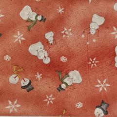 Decoro pupazzi neve e fiocchi stafil fondo rosa legno H1.10