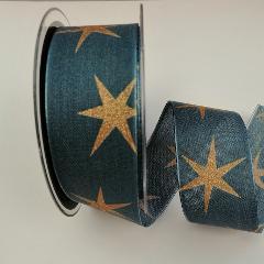 Decoro Stelle dorate pbs fondo blu 40mm
