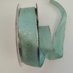 Decoro stelline argento e cuciture argento pbs fondo verde chiaro 25mm
