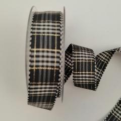 Decoro rustic plaid  grigio avorio e dorato Ribbon stafil 25mm
