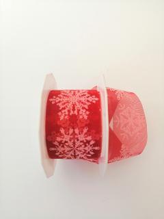 Decoro fiocchi neve  bianchi  Arti e Grafica fondo organza rossa 4cm