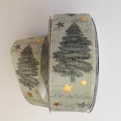 decoro alberi pigne e stelline pbs fondo verde 40mm