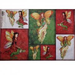 Carta  riso donna farfalla stamperia 33x48