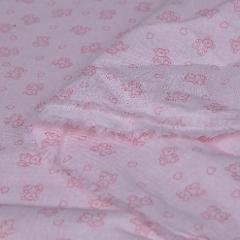 stoffa cotone colore rosa con cuori ed orsetti in tinta stafil Altezza 160 cm
