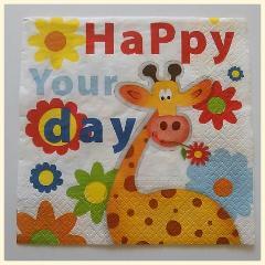 """tovaglioli per decoupage animali  giraffa con fiori """"Happy Your Day"""" arti e grafica busta da 2 pezzi 33 x 33 cm"""