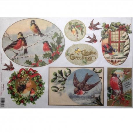Carta riso uccellini natalizi stamperia 33x48