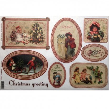 Carta riso christmas greeting stamperia 33x48