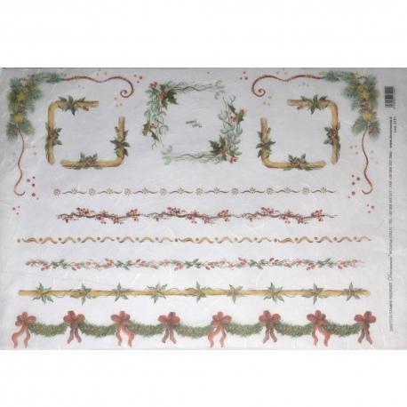Carta riso ghirlande natalizie decomania 33x48