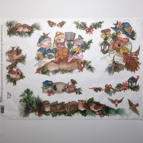 Carta riso nidi e pupazzi neve arti e grafica 33x48