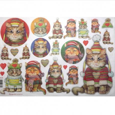 Carta riso gatti con cappelli stamperia 33x48