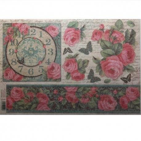 Carta riso orologio con rose stamperia 33x48