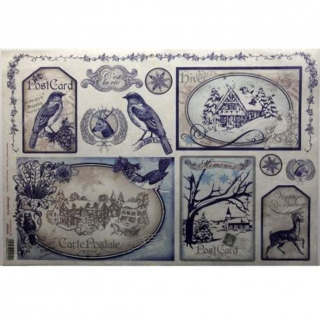 Carta riso Cartoline postali vintage stamperia 33x48