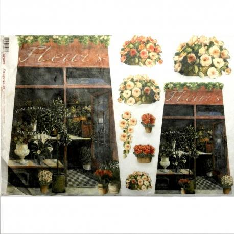 Carta riso tegola fiori stamperia 33x48