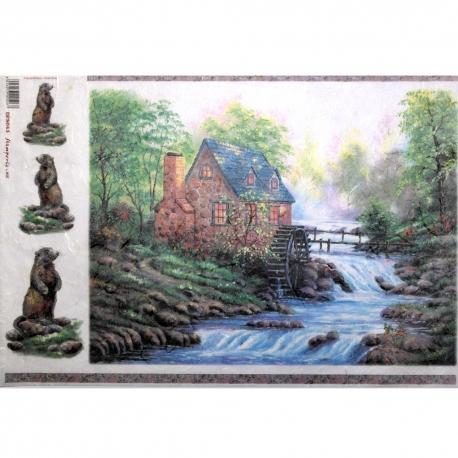 Carta riso cottage su ruscello stamperia 33x48